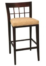 Atherton Wooden High Stool with Upholstered Seat in Dark Walnut